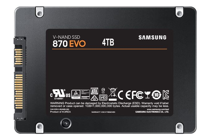 Samsung Introduces 870 EVO SATA SSDs: 128L TLC With an Updated Controller