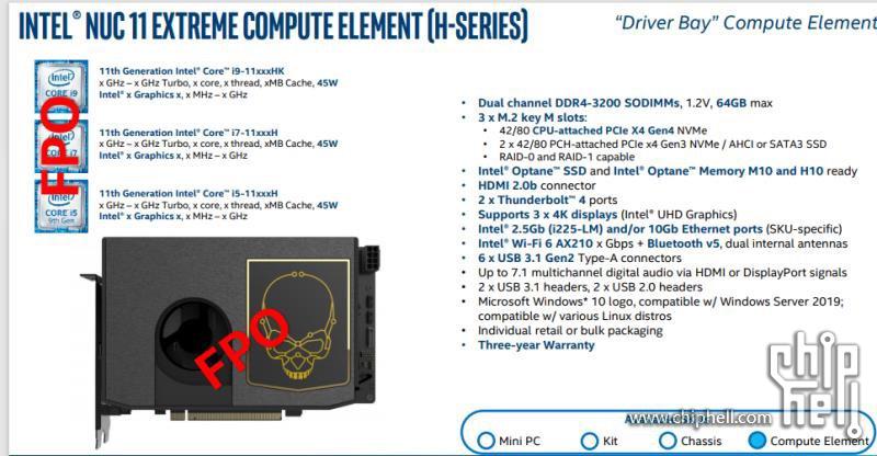 Intel NUC 11 Extreme TIger LakeH
