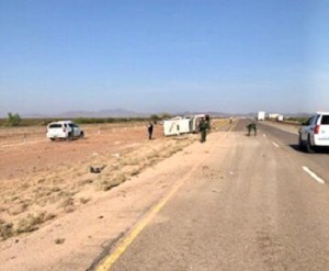 Border Patrol vehicle carrying detainees in rollover crash on I-10 west near Van Horn