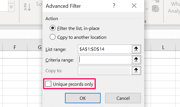 19 remove duplicate rows excel advanced filter tool