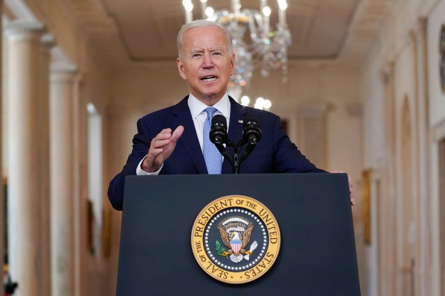 President Joe Biden speaks about the end of the war in Afghanistan from the White House
