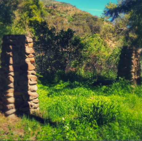 The old bridge washed out, but these pillars survive.