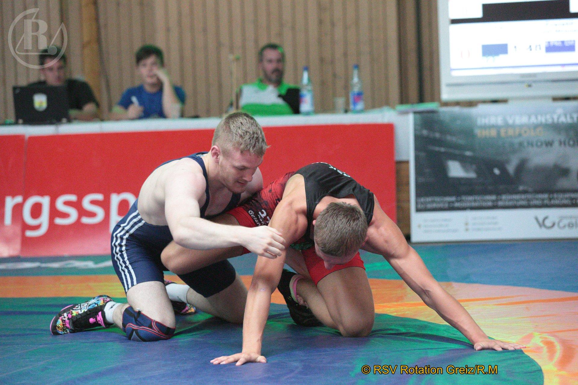 72 kg Freistil: Franke, Felix, WKG Gelenau II/Chemnitz gegen Wrensch, Joel (blaues Trikot), RSV Rotation Greiz II - 0:4/SS/0:10/02:19