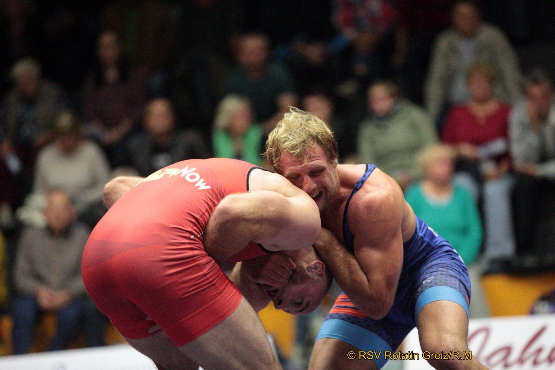 86kg Greco: Thomas Leffler (1) (rotes Trikot), RSV Rotation Greiz gegen Hannes Wagner (-2), AC Lichtenfels 0:3/PS/0:12/06:00