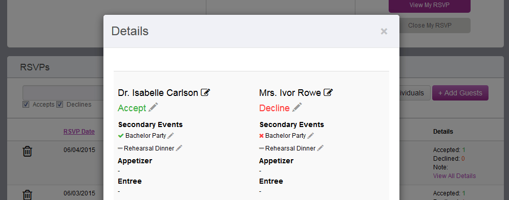 Edit RSVP replies with a click