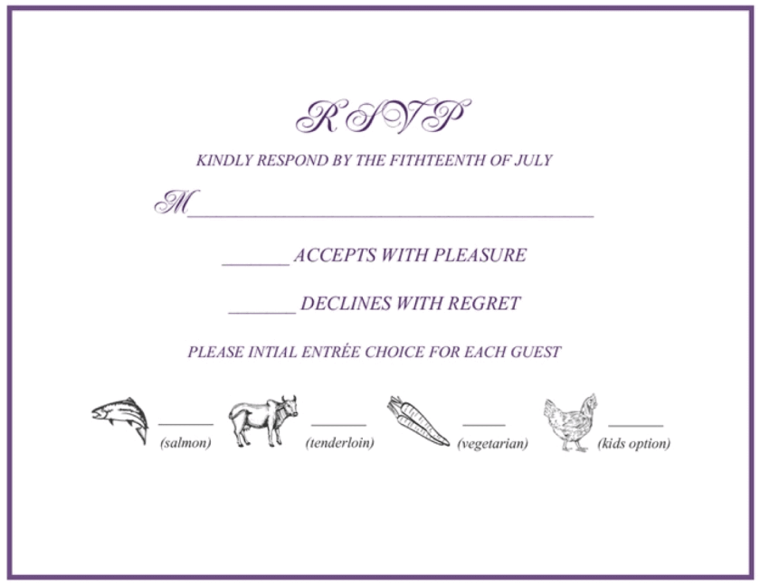 Black And White Menu List Wedding Reply Card
