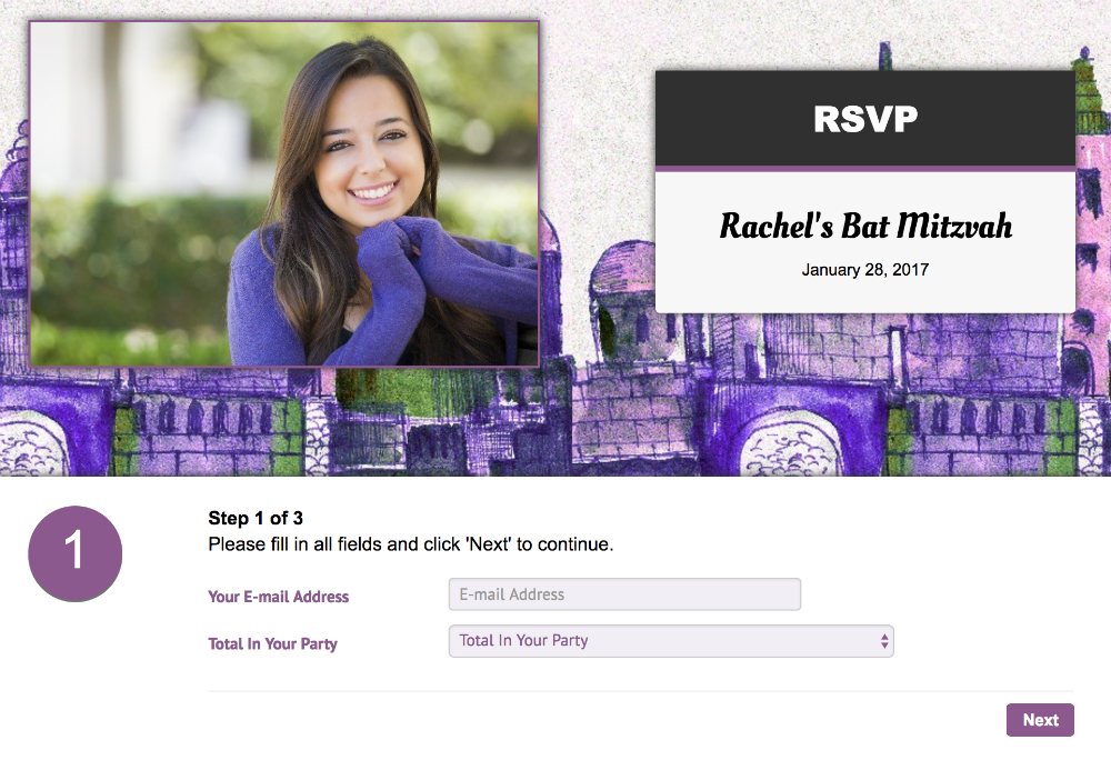 Online Bar Mitzvah RSVP website