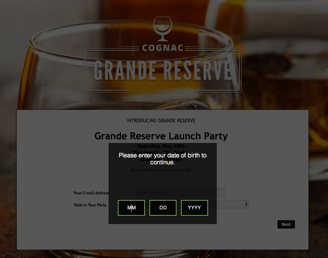 Online RSVP experience that is age gated with an age verification tool
