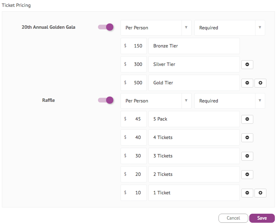 Ticket pricing settings