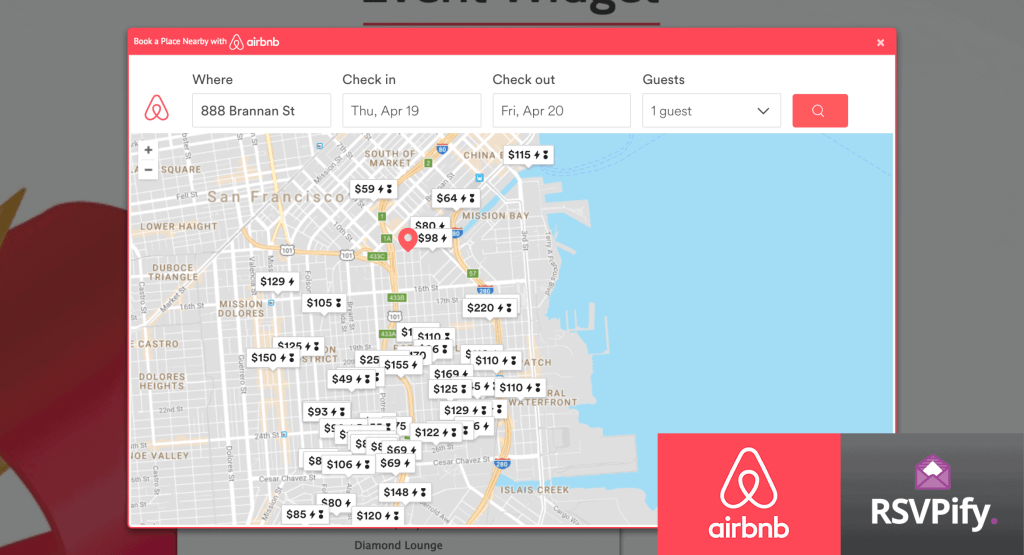 RSVPify's integration with Airbnb's Event Widget