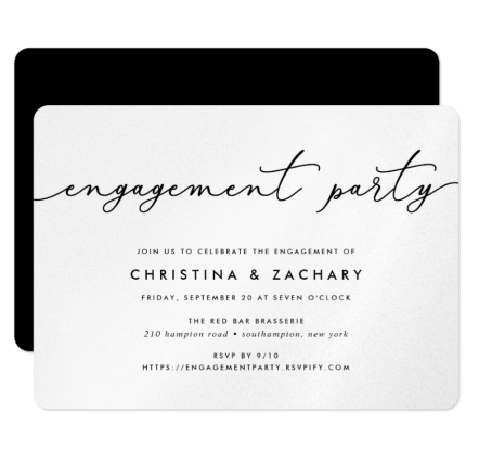 "Example of engagement party paper invitation. Black and white calligraphy engagement invitation. ""Join us to celebrate the engagement of Christina & Zachary""."