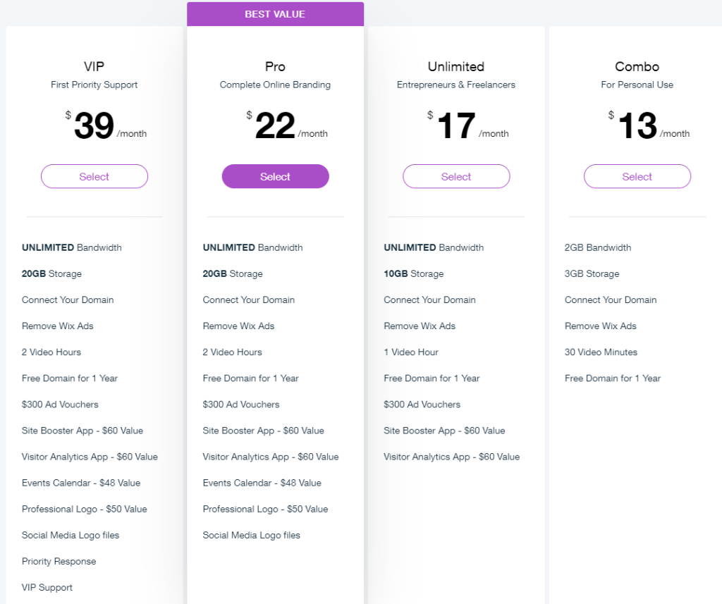 Pricing plans Wix