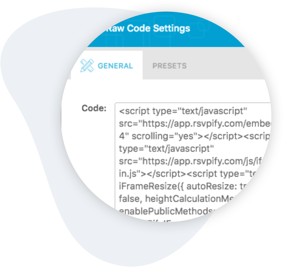 Event Registration HTML Embed Code for WordPress