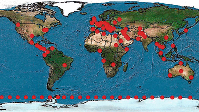 The map of XKeyscore servers from a 2008 presentation (Image from theguardian.com)