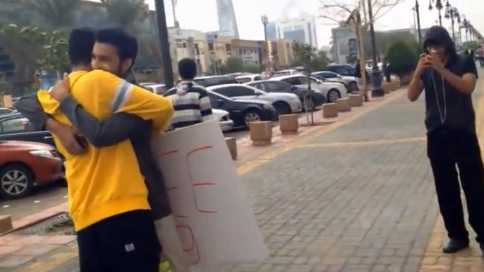 Still from YouTube video showing Bandr Swed during his 'Free Hugs' campaign / Saudi Free B.H