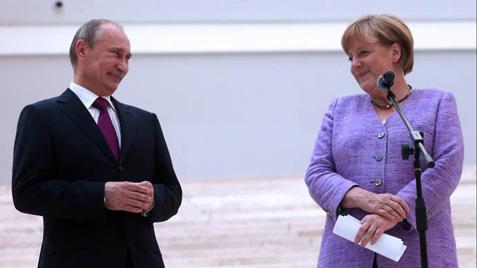 Russia's President Vladimir Putin and German Chancellor Angela Merkel (AFP Photo / Pool / Anatoly Maltsev)