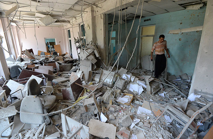A polyclinic damaged during shelling of Donetsk by the Ukrainian military on August 8, 2014. (RIA Novosti / Mikhail Voskresenskiy)