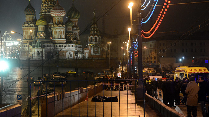 A murder scene of politician Boris Nemtsov, who was shot dead on Moskvoretsky bridge.(RIA Novosti / Iliya Pitalev)