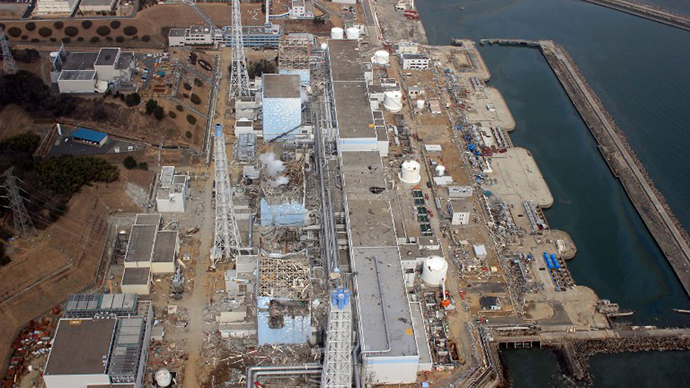 This aerial view, taken by an unmanned aerial vehicle (UAV) of the Air Photo Service on March 20, 2011 shows Tokyo Electric Power Co (TEPCO) Fukushima Daiichi nuclear power plant at Okuma town in Fukushima prefecture. (AFP Photo)