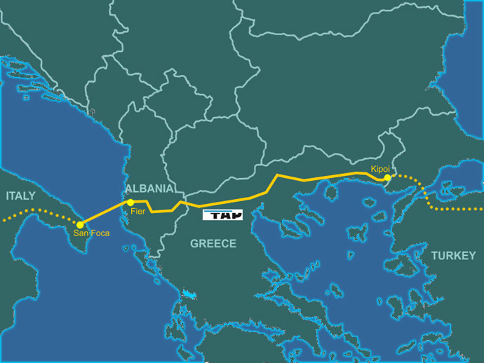 Trans Adriatic Pipeline (Image from wikipedia.org by Genti77)