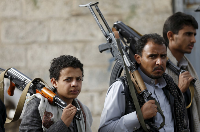 Followers of the Houthi movement attend a protest against the Saudi-led air strikes in Sanaa April 5, 2015. (Reuters/Khaled Abdullah)