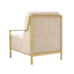 Chair Cba Steel Crate And Barrel Slipcover Bayla Accent Side Sleek Stylish Faux Fur Stainless Frame The Makes A Bold Fashionable Statement Clean Architectural Lines Are Created By Brushed Brass Finished