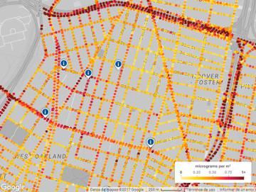 Captura del mapa de polución en Oakland impulsado por Google y EDF