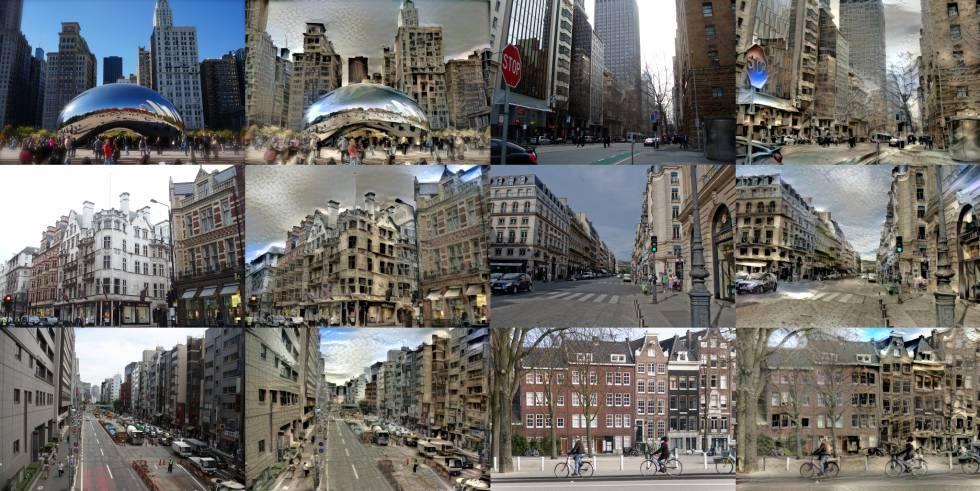 Montaje hecho a partir de las imágenes de varias ciudades antes y después de ser tratadas.