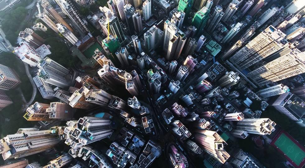 Imagen del centro de Hong Kong tomada por un dron.