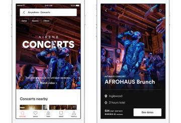 Pantallazo de conciertos ofrecidos por Airbnb a sus usuarios.
