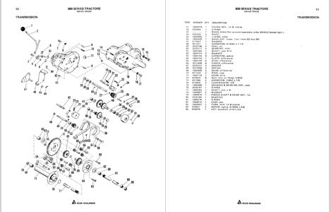 Allis Chalmers GT800 series garden tractor dealer parts manual