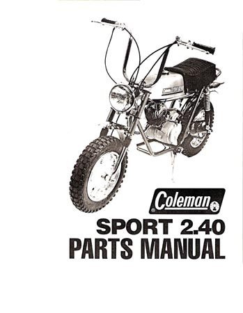 Attex Coleman 2.40 mini bike Parts Manual