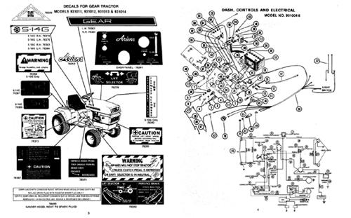 Ariens 931 Series garden tractor parts manual, S-10, S-12