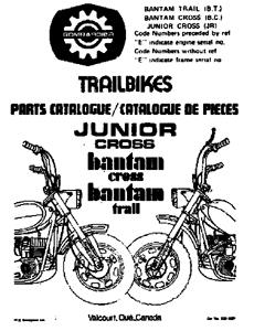 Bombardier Bantam mini bike parts manual Trail, Cross, Junior