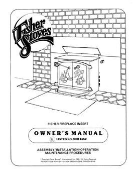 Fisher air tight fireplace insert wood stove owners manual
