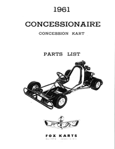 Fox 1961 Concessionaire concession go kart parts manual