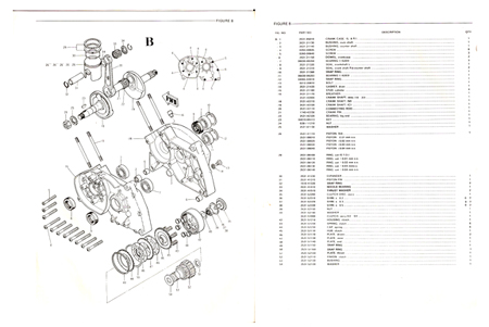 Fugi 80cc mini bike engine Parts Manual Alsport Rupp Speedway
