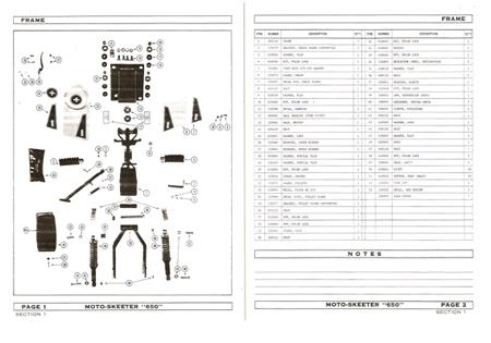 Moto Ski Moto Skeeter 650 Mini Bike frame Parts Manual