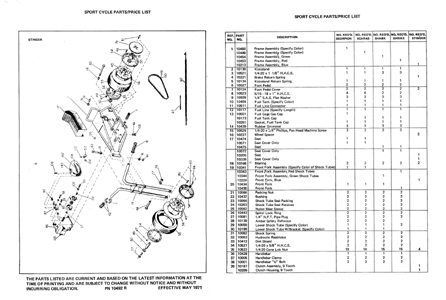 1970 Speedway mini bike parts manual Scorpion, Scarab