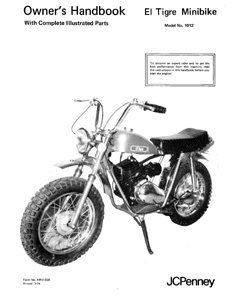 Speedway JC Penney El Tigre mini bike owners manual w
