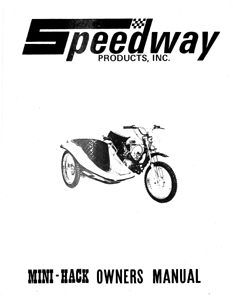 Speedway Mini Hack mini bike Side Car parts manual
