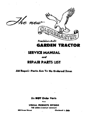 Shipley Choremaster Tractor Service Manual w/ Parts List
