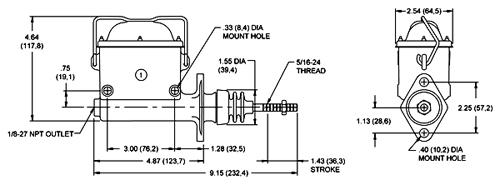 High volume compact master cylinder go kart, utility