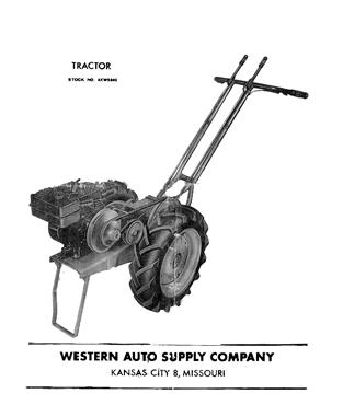 Western Auto 4XW5840 Walking Tractor Manual