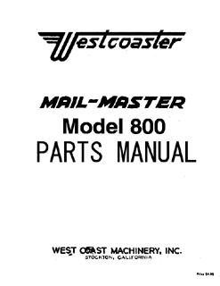 Otis Westcoaster Utility Vehicle Parts Manual