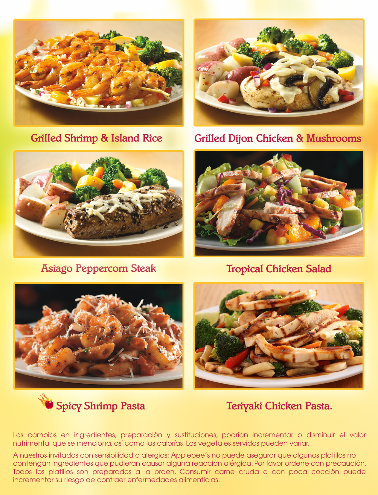 Applebees Light Menu