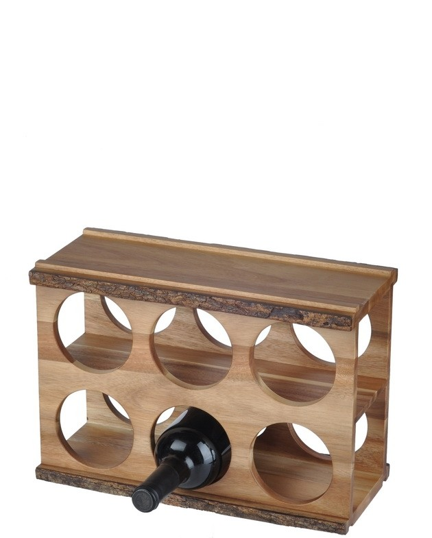 6 Bottle Wooden Wine Rack 6 Bottle Acacia Wood Modular Wine Rack