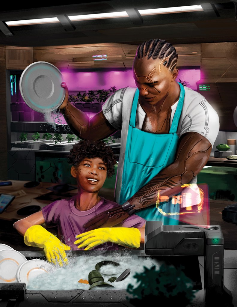 Art by Pedram Mohammadi. A man with cyberarms and his son wash dishes together.