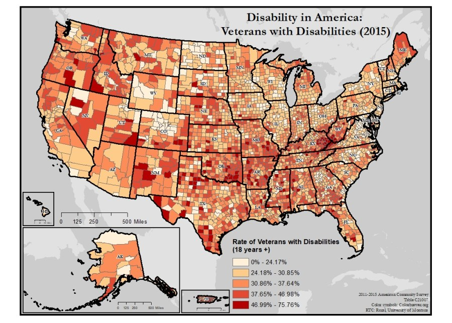 Map of the United States showing disability rates of veterans, by county