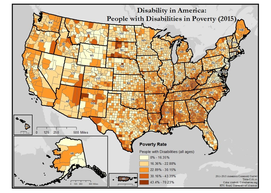 Map of the United States showing disability rates of people in poverty, by county